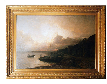 ANTIQUE OIL PAINTINGS - OIL PAINTING ON CANVAS LATE 1800 SUNSET