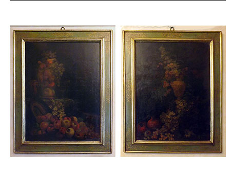 ANTIQUE OIL PAINTINGS - PAIR OF PAINTED OIL ON CANVAS OF 1700 - NATURE STILL FLOWERS
