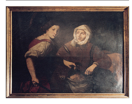 ANTIQUE OIL PAINTINGS GIUDITTA AND OLOFERNE PAINTED OIL ON CANVAS OF THE 1600 CARAVAGGIO SCHOOL