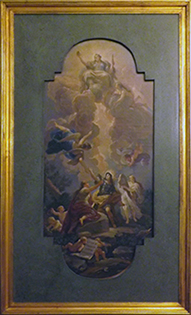 ANTIQUE OIL PAINTINGS. LATE 1800S. REPRODUCTION OF THE CEILING OF LUCA GIORDANO IN THE RICCARDIAN LIBRARY OF THE PALAZZO MEDICI RICCARDI IN FLORENCE