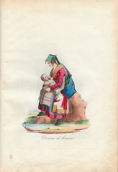 Antique etchings prints. Ancient Book. Collection of Costumes of Rome. 41 engravings hand watercolours - 1838 Filippo Ferrari