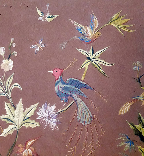 antiques - oriental art - antique embroidered velvet - tapestry